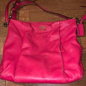 Coach Watermelon pink red leather purse crossbody
